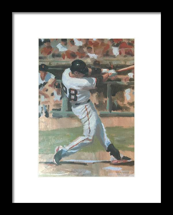Buster Posey Framed Print featuring the painting Posey Shot by Darren Kerr