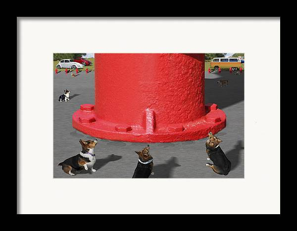 Corgis Framed Print featuring the photograph Postcards From Otis - The Hydrant by Mike McGlothlen
