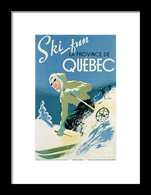 Advert; Advertisement; Publicity; Winter Sports; Female; Skiing; Skiier; Snow; Holiday; Leisure; Ski; Fun; Sunny; Sunglasses; Enjoyment; Jet Set; Thirties; Resort; Canadian; Holiday; Vacation; Glamourous; Jet-set Framed Print featuring the drawing Poster advertising skiing holidays in the province of Quebec by Canadian School
