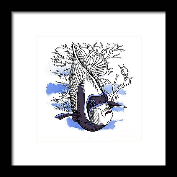 Beauty Framed Print featuring the digital art Poster With Image Of Fish Emperor by Afishka