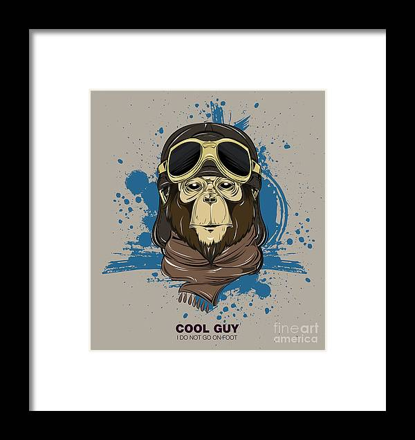 Monkey Framed Print featuring the digital art Poster With Portrait Of Monkey Wearing by Now Design