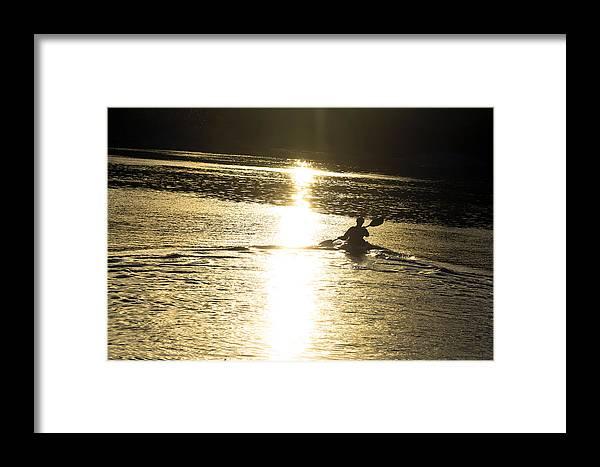Kayak Framed Print featuring the photograph Potomac Kayaker Sunset by Francis Sullivan