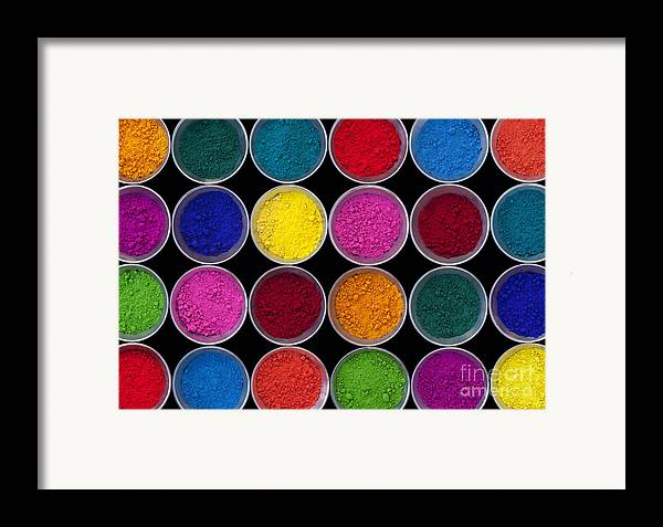 Pots Of Indian Coloured Powder Framed Print featuring the photograph Pots Of Coloured Powder Pattern by Tim Gainey