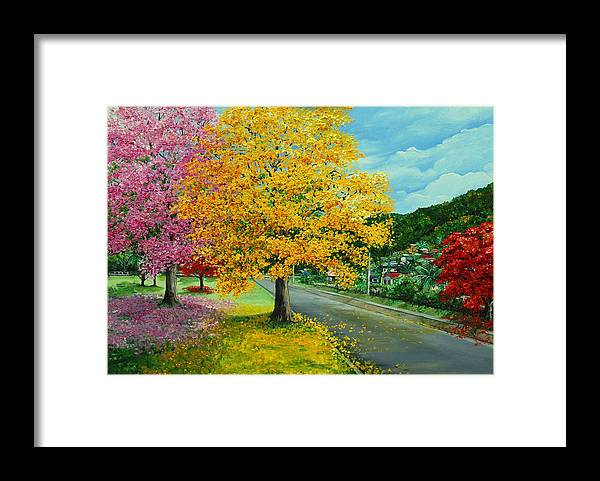 Poui Trees Framed Print featuring the painting Poui In Diego by Karin Dawn Kelshall- Best