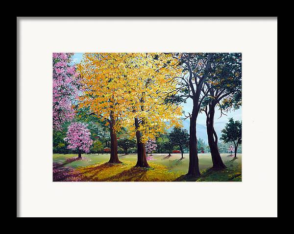 Tree Painting Landscape Painting Caribbean Painting Poui Tree Yellow Blossoms Trinidad Queens Park Savannah Port Of Spain Trinidad And Tobago Painting Savannah Tropical Painting Framed Print featuring the painting Poui Trees In The Savannah by Karin Dawn Kelshall- Best