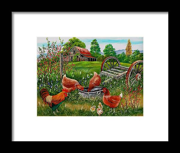 Old Weathered Barn Framed Print featuring the painting Poultry Peckin Pals by Val Stokes