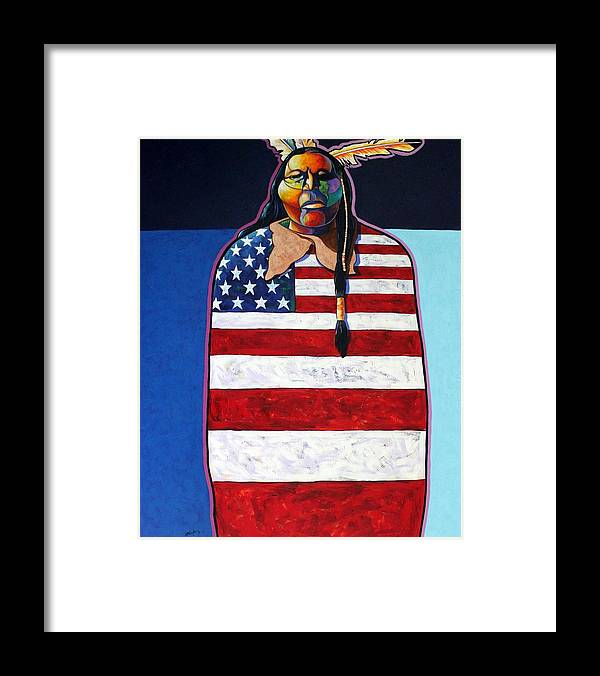 Native American Wrapped In Us Flag Framed Print featuring the painting Poverty Still Cracks the Whip by Joe Triano