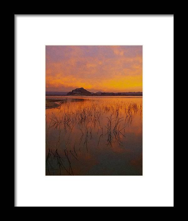 Digital Framed Print featuring the digital art Powell Sunrise 1 by David Hansen