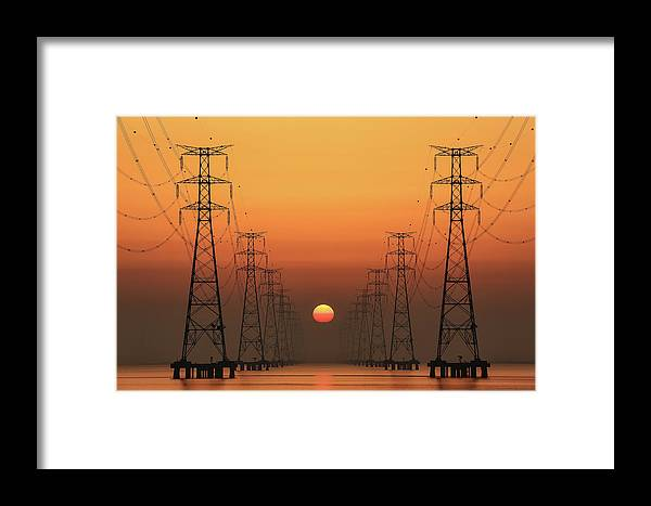 Sunrise Framed Print featuring the photograph Power Line by Tiger Seo
