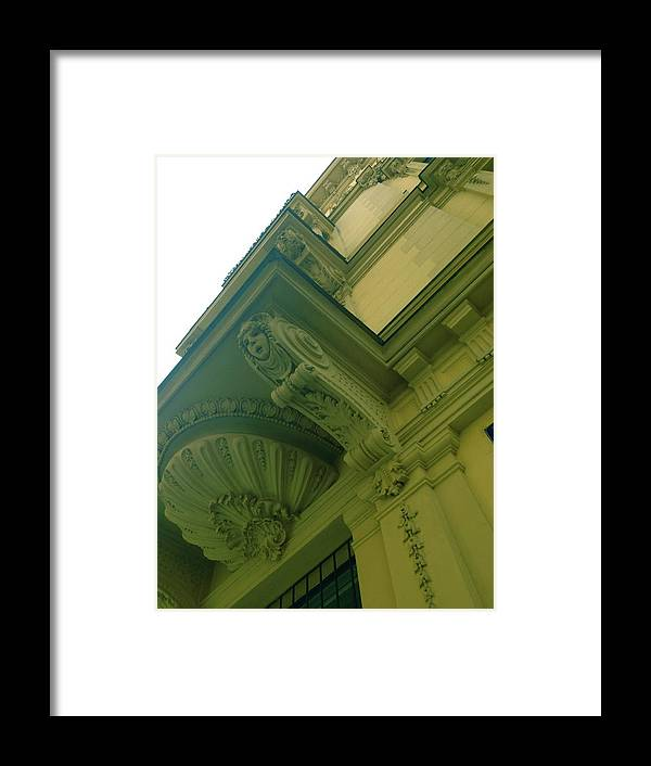 White Framed Print featuring the photograph Prague Building In Green by Hannah Rose
