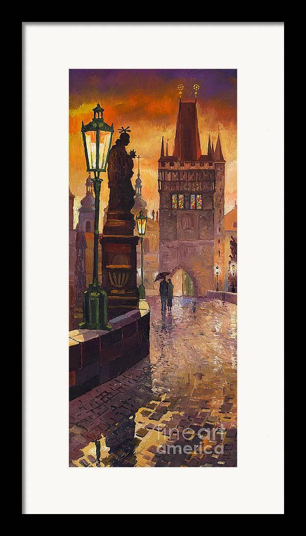 Prague Framed Print featuring the painting Prague Charles Bridge 01 by Yuriy Shevchuk