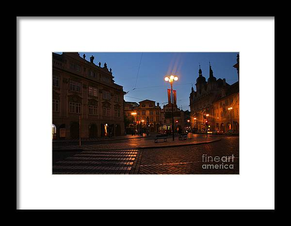 Charles Bridge Framed Print featuring the photograph Prague Old Town At Night by Gregory Dyer