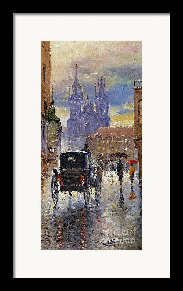 Oil On Canvas Framed Print featuring the painting Prague Old Town Square Old Cab by Yuriy Shevchuk