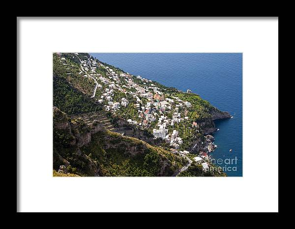 Praiano Amalfi Coast Mountain Mountains Village Villages Church Churches Mediterranean Sea Water House Houses Building Buildings Structure Structures Architecture Hillside Farm Farms Landscape Landscapes Waterscape Waterscapes Framed Print featuring the photograph Praiano Village by Bob Phillips