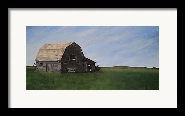 Prairie Framed Print featuring the painting Prairie Barn by Jesslyn Fraser