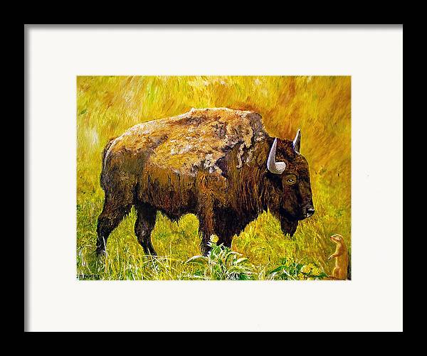 Buffalo Framed Print featuring the painting Prairie Companions by Michael Durst