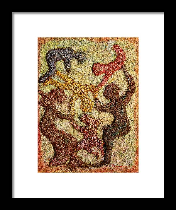 Mixed Media Using Grains Grown In The Prairies Framed Print featuring the painting Prairie Family Dance by Naomi Gerrard