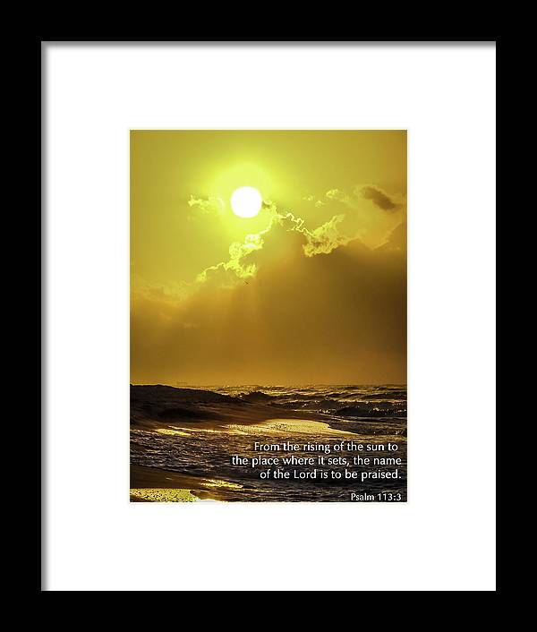 Sunrise Framed Print featuring the photograph Praise by CarolLMiller Photography