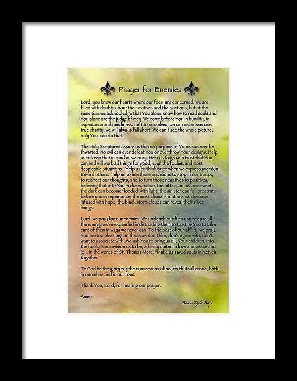 Prayer For Enemies Framed Print featuring the photograph Prayer For Enemies by Bonnie Barry