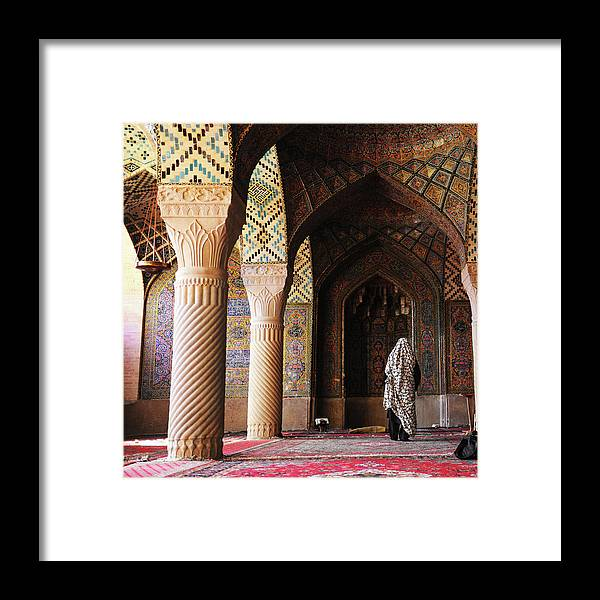 Arch Framed Print featuring the photograph Prayers In Nasir Al-mulk Mosque by Kickimages