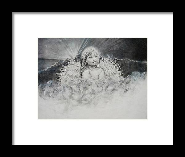 Angel Drawing Framed Print featuring the drawing Prayers To An Angel by Tracy Male