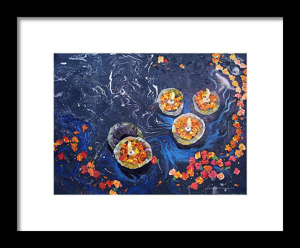Handmade Paper Framed Print featuring the painting Prayers To The Ganges River by Art Nomad Sandra Hansen