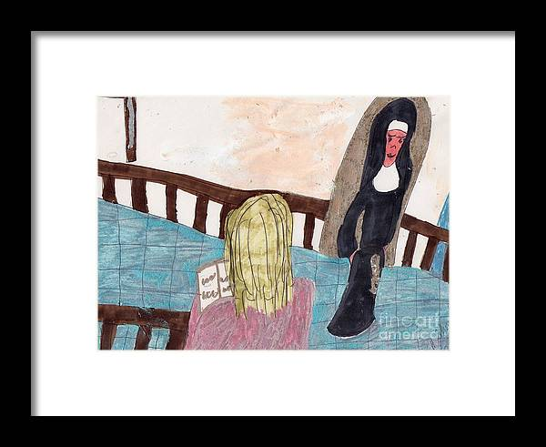 A Nun Watching A Girl Pray Framed Print featuring the mixed media Praying For A Vocation by Elinor Helen Rakowski