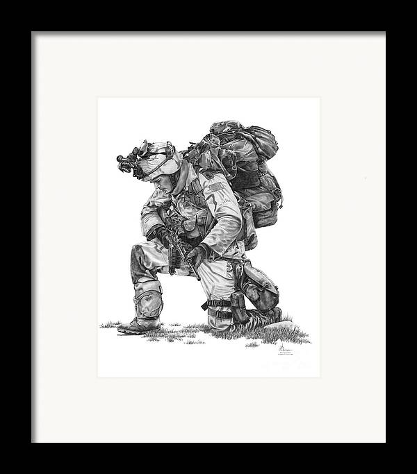 Soldier Framed Print featuring the drawing Praying Soldier by Murphy Elliott