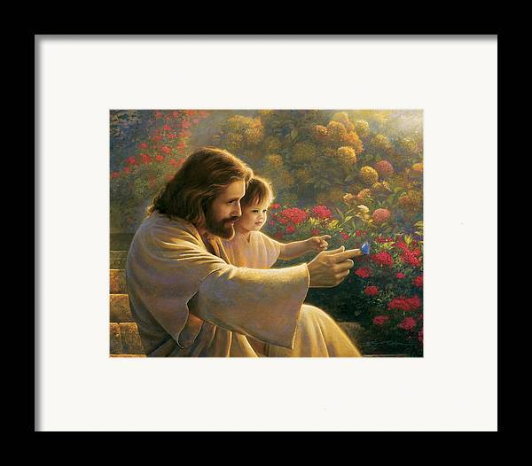 Jesus Framed Print featuring the painting Precious In His Sight by Greg Olsen