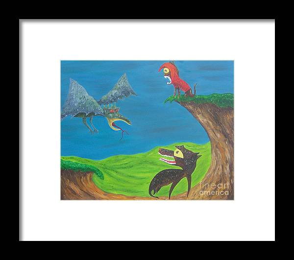 Oil Framed Print featuring the painting Prehistoric Pets by JoNeL Art