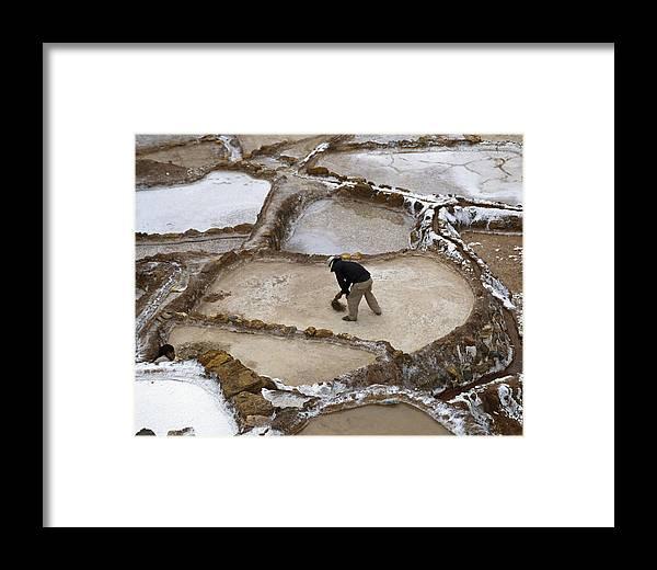 Salt Framed Print featuring the photograph Preincan Salt Mines In Maras Peru by Jared Bendis