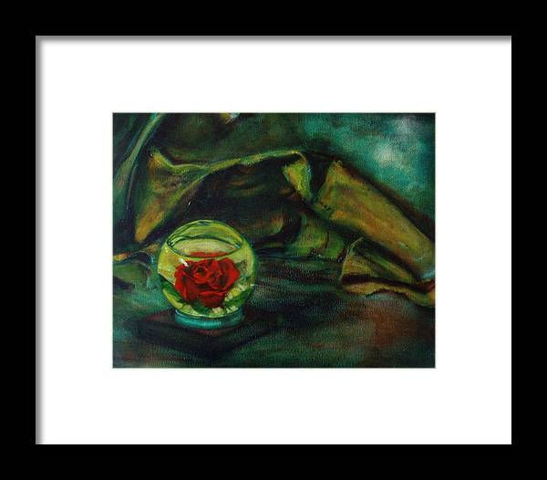 Still Life Framed Print featuring the painting Preserved Rose . . Draped Canvas by Sean Connolly