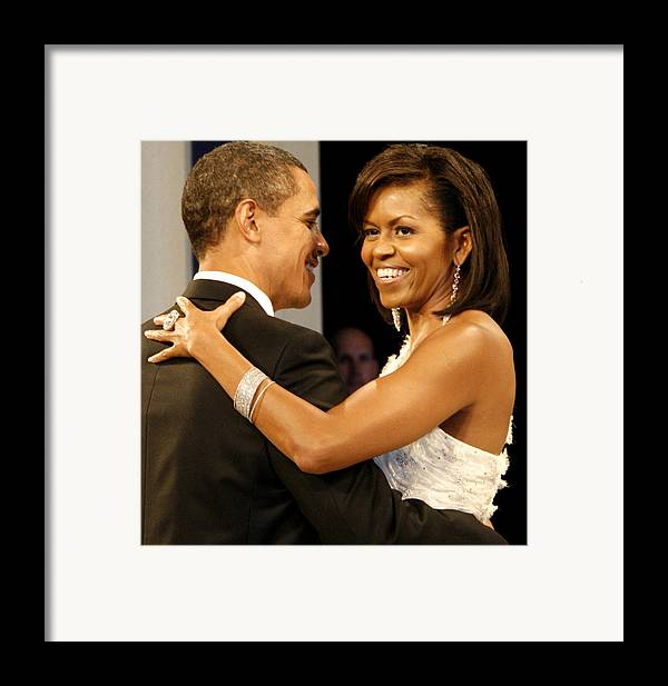 Photograph Framed Print featuring the digital art President And Michelle Obama by Official Government Photograph