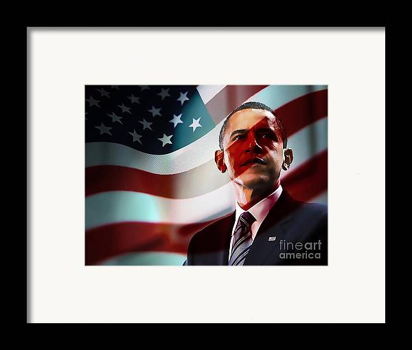 President Barack Obama Paintings Framed Print featuring the mixed media President Barack Obama by Marvin Blaine