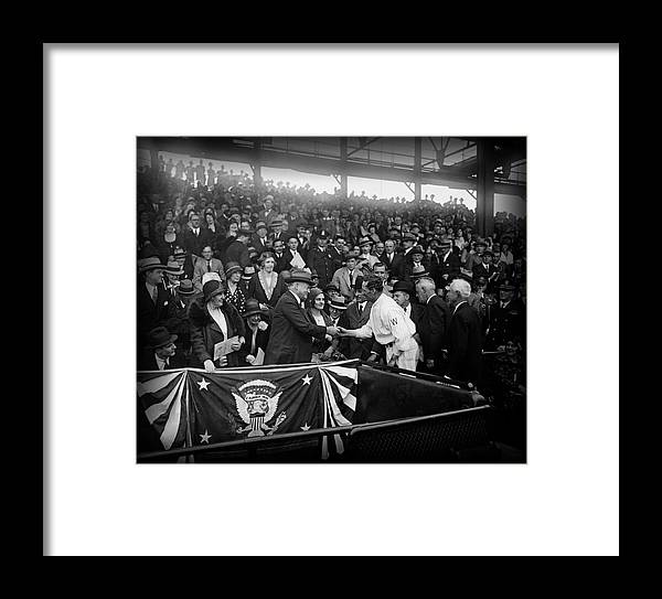 Opening Day Framed Print featuring the photograph President Herbert Hoover And Baseball Great Walter Johnson 1931 by Mountain Dreams