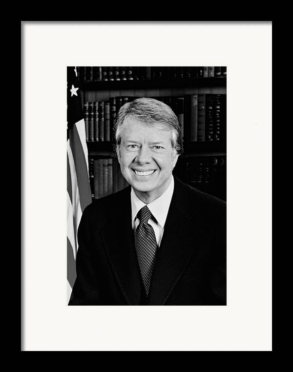 Jimmy Carter Framed Print featuring the photograph President Jimmy Carter by War Is Hell Store