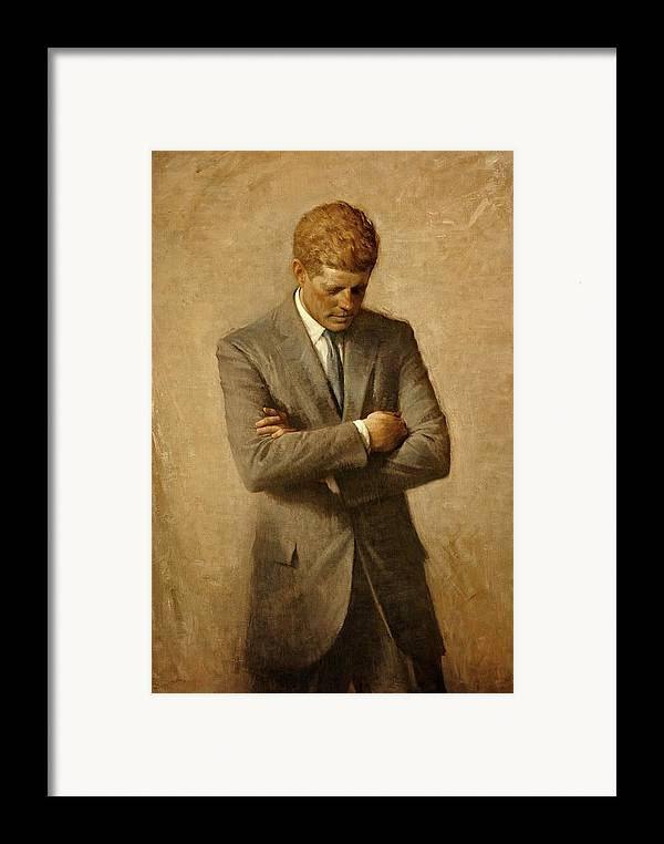 Kennedy Framed Print featuring the painting President John F. Kennedy Official Portrait By Aaron Shikler by Movie Poster Prints