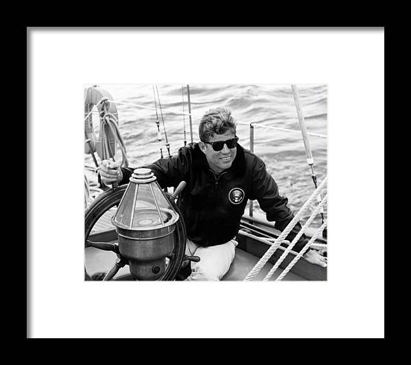 Jfk Framed Print featuring the photograph President John Kennedy Sailing by War Is Hell Store