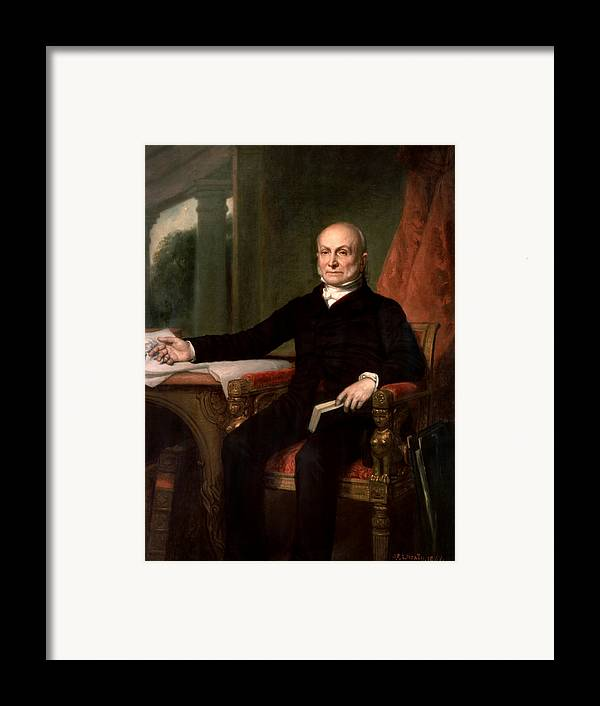John Quincy Adams Framed Print featuring the painting President John Quincy Adams by War Is Hell Store
