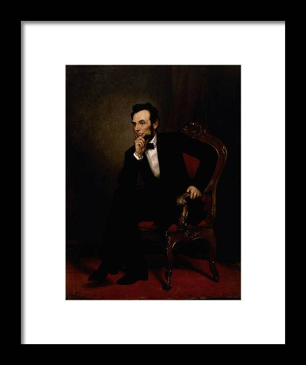 Abraham Lincoln Framed Print featuring the painting President Lincoln by War Is Hell Store