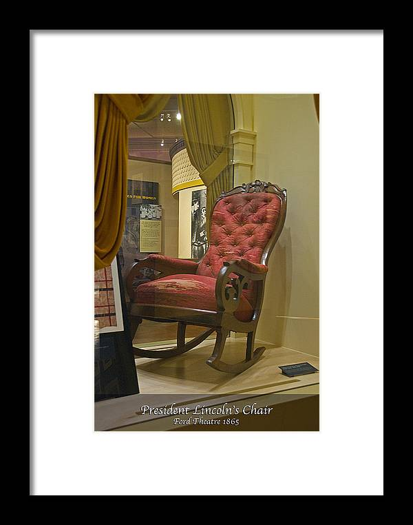 Lincoln Framed Print featuring the photograph President Lincoln's Chair by Richard Spitler