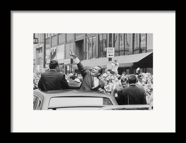 History Framed Print featuring the photograph President Nixon Pointing At The Crowd by Everett