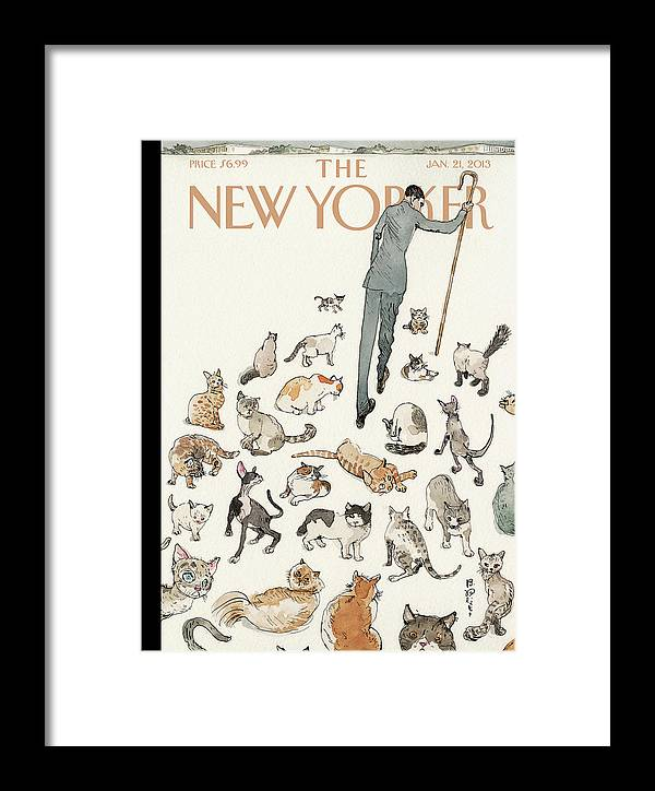 Congress Framed Print featuring the painting President Obama Attempts To Herd Cats by Barry Blitt
