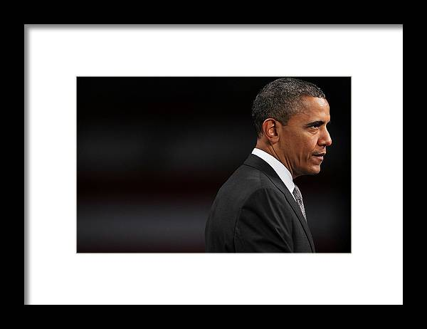 Barack Obama Framed Print featuring the photograph President Obama Speaks On The Economy by Spencer Platt
