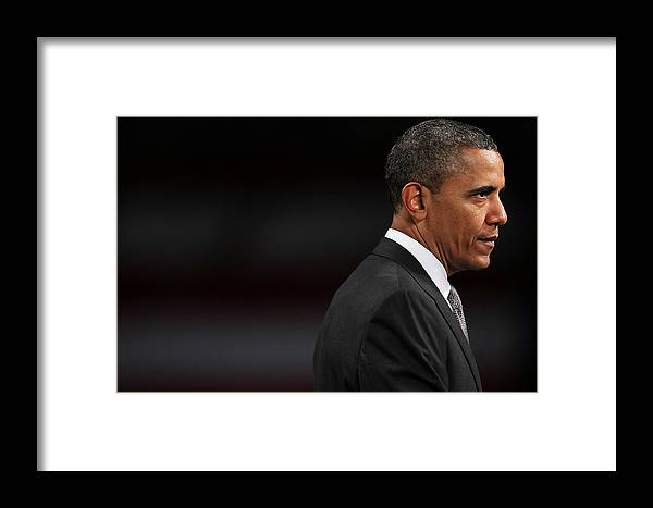 People Framed Print featuring the photograph President Obama Speaks On The Economy by Spencer Platt