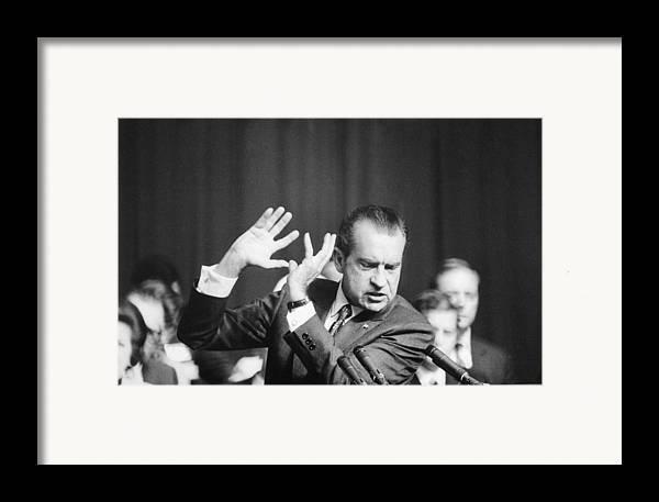 History Framed Print featuring the photograph President Richard Nixon Gesturing by Everett