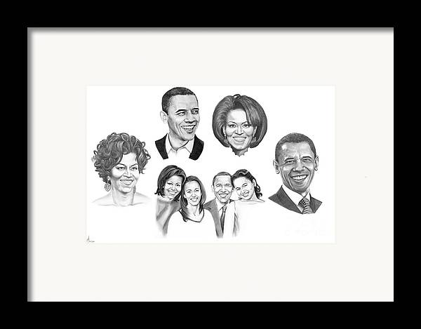 President Framed Print featuring the drawing Presidential by Murphy Elliott
