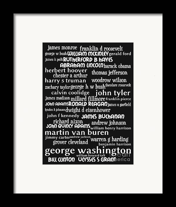 George Washington Framed Print featuring the digital art Presidents Of The United States 20130625bw by Wingsdomain Art and Photography