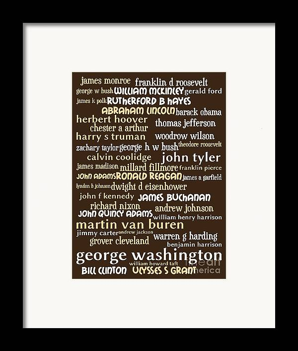 George Washington Framed Print featuring the digital art Presidents Of The United States 20130625bwwa85 by Wingsdomain Art and Photography