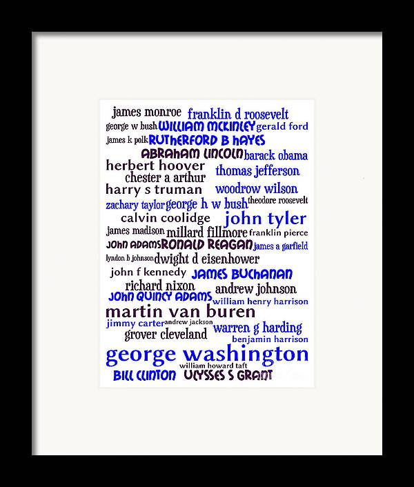 George Washington Framed Print featuring the digital art Presidents Of The United States 20130625whi by Wingsdomain Art and Photography